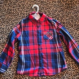 Adorable plaid long sleeve button up from Justice